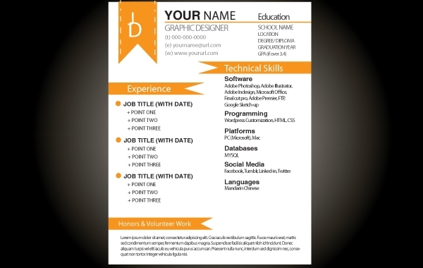 Free Orange Basic Resume Template