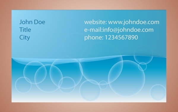 Free Blue Bubbles Business Card