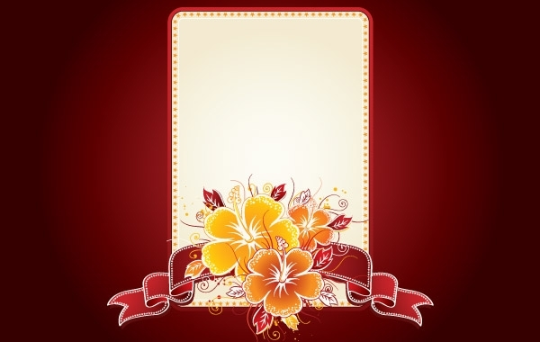 Free Invitation Card with Floral Badge
