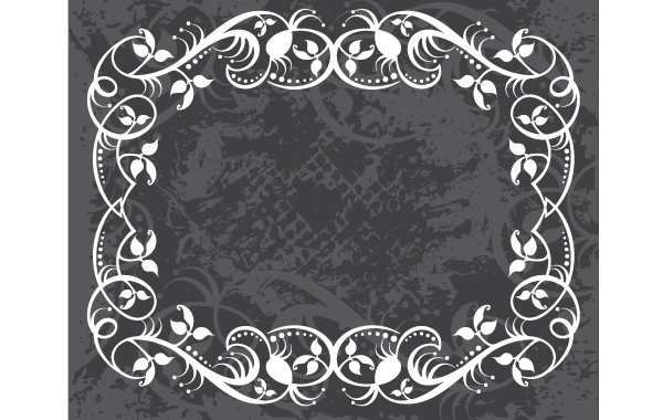 Free Grungy Swirl Floral Frame Layout