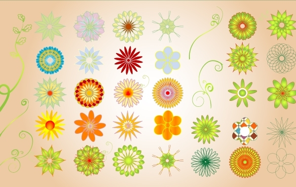 Free Colorful Floral Shape Pack
