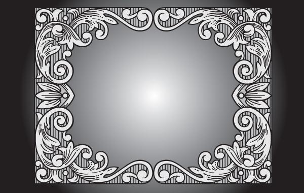 Free Gray Vintage Floral Frame