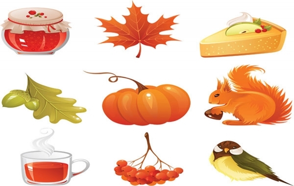 Free vector autumn icons set
