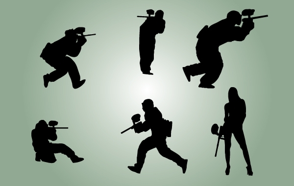 Free Silhouette Paintball Players Vector