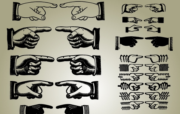 Free Set of Pointing Hands Vector