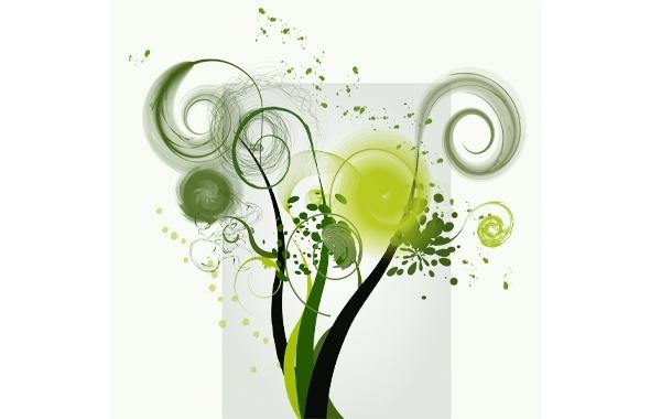 Free Green Swirl Shape Vector