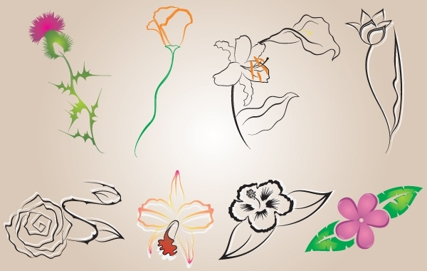 Free Several Flowers Vector
