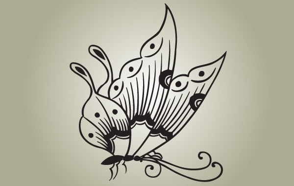 Free Vectors: Black & White Butterfly Vector | naderbellal