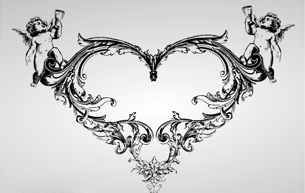 Free Ornate Vintage Heart with Angel