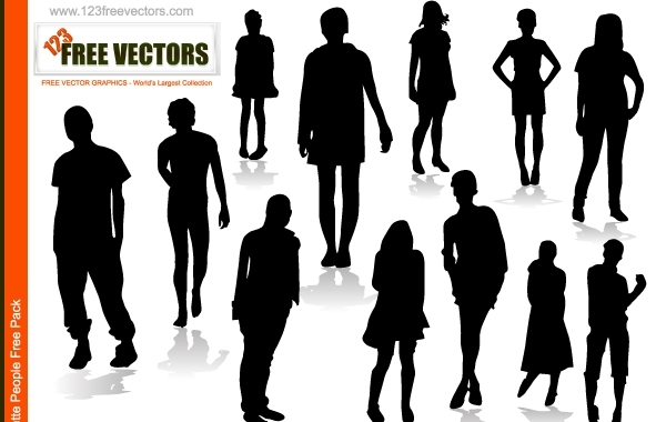 Free Silhouette Vector Boys and Girls