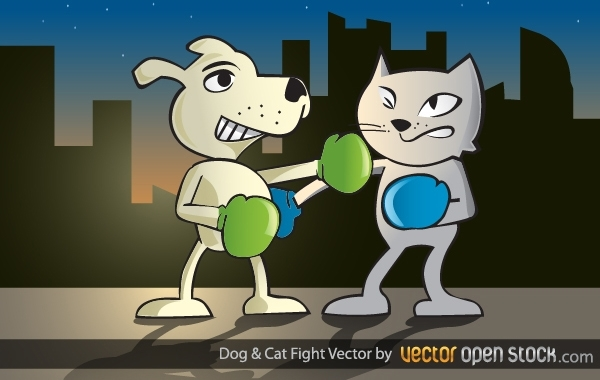 Free Vectors: Dog and Cat Fight | Vector Open Stock
