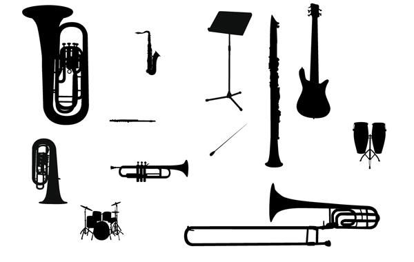 Free Vectors: Silhouette Vector Music Instrument | Martin