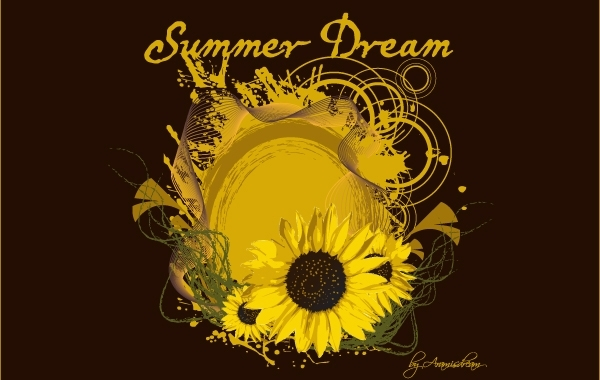 Free Summer Dream Artwork with Sunflower