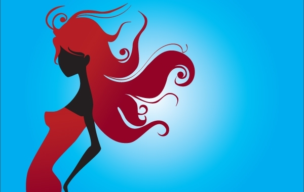 Free Red Silhouette Girl with Swirl Hair
