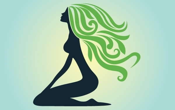 Free Silhouette Curly Green Hair Lady