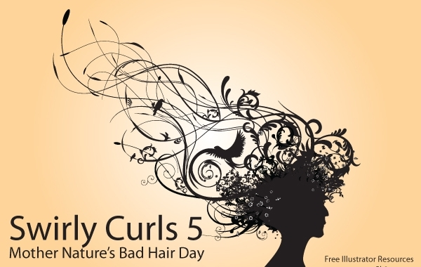 Free Silhouette Curly Swirl Bad Hair