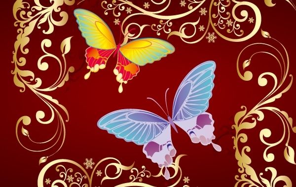 Free Floral Shape with Butterfly
