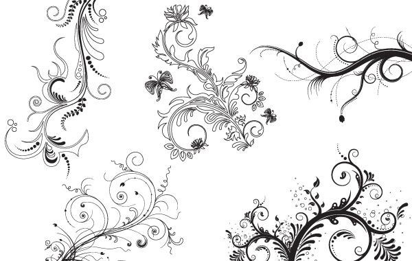 Free 5 Fantasy Floral Decorative Ornaments