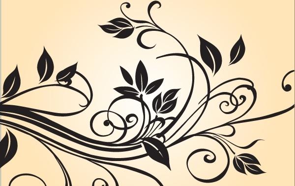 Black & White Floral Ornament