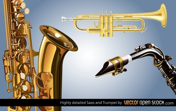 Free Highly detailed Saxo and Trumpet
