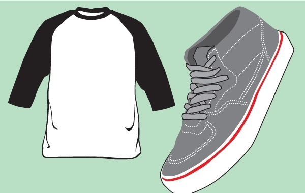 Free Blank T-Shirt and Shoe Vector