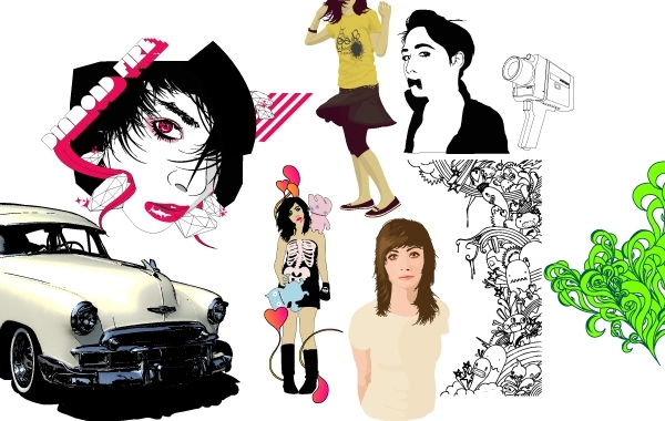 Colorful Vector Ladies and Artwork