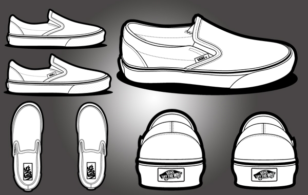 Vans Shoe Design Blank Template Slip On