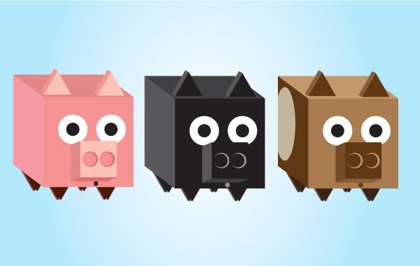 Free 3D Square Vector Piggy