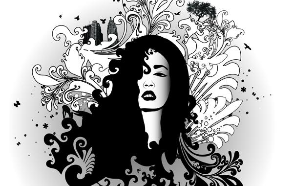 Free Black & White Swirl Glamour