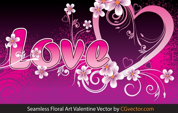 Free seamless floral art Valentine Vector