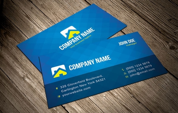 Free Cool Blue Vector Business Card Template