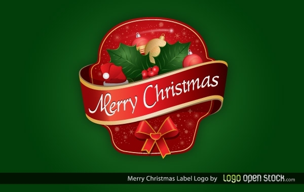 Free Merry Christmas Label Logo