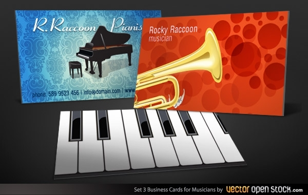 Free Vectors: Musicians Business Card Set 3 | Vector Open Stock