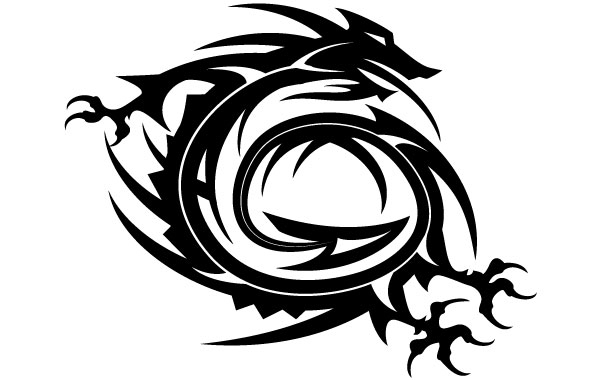 Free Dragon Tribal Style Vector