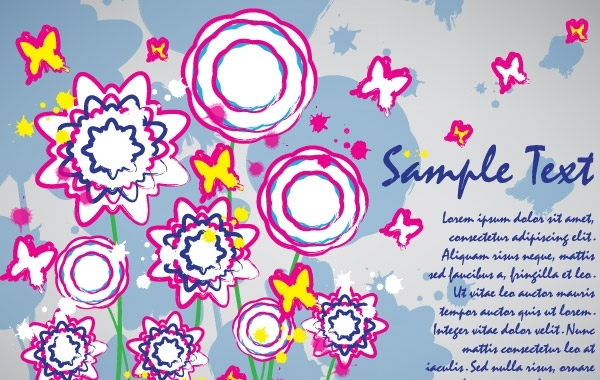 Free Colorful flowers card brush design