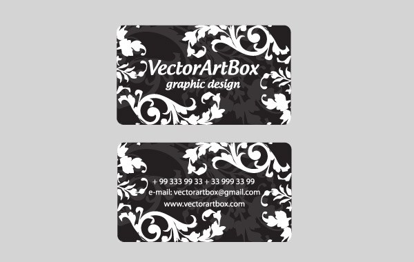 Free White Floral Business Card