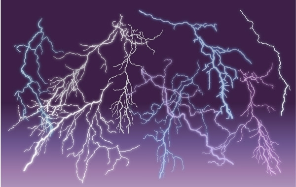 Free Free Vector Lightnings Set