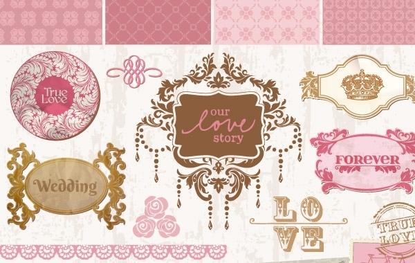 Vintage wedding decorative frames and elements vector