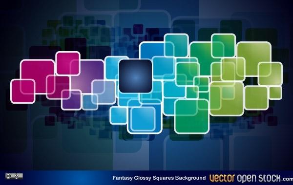 Free Fantasy Glossy Squares Background