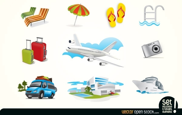 Free Holiday Travel Elements Icons