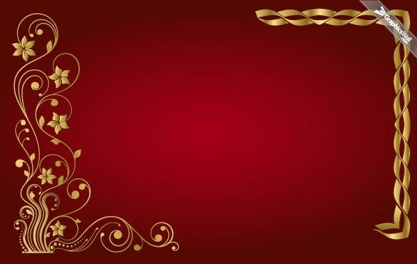 Free Golden Floral Vector Frame
