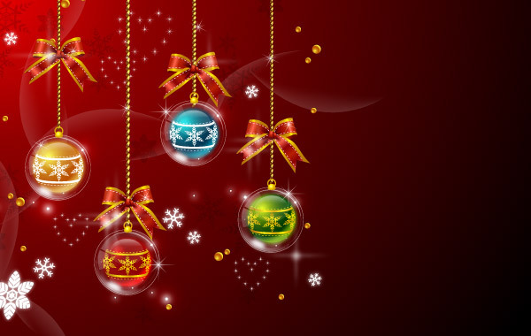 Free Xmas Balls Red Background