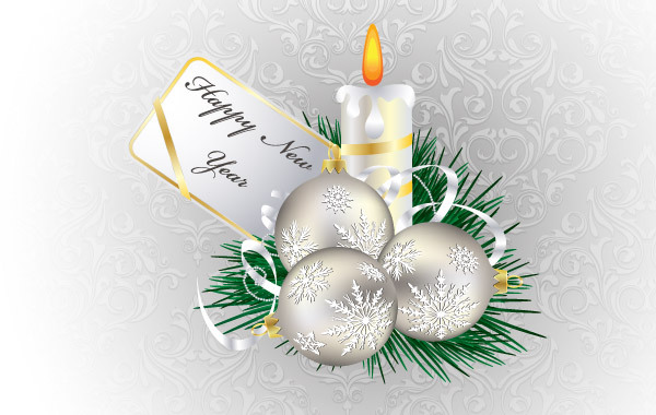 Free Christmas and New Year Candle Illustration
