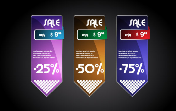 Free Beautiful Boxes Label Vector