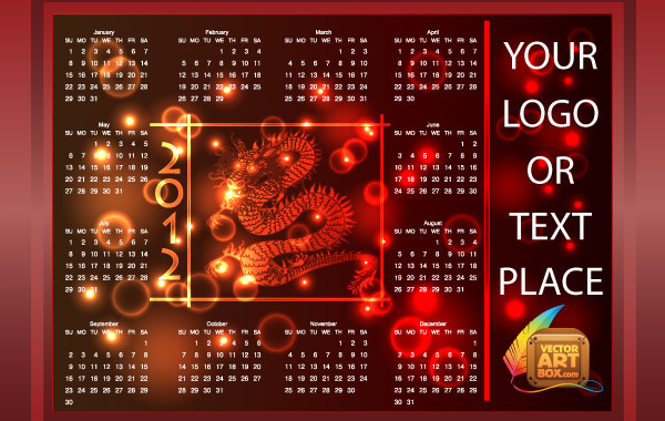 Free RED DRAGON CALENDAR 2012