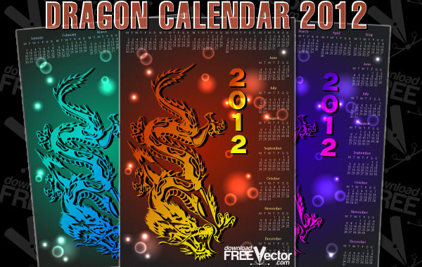 Free Dragon Calendar For 2012