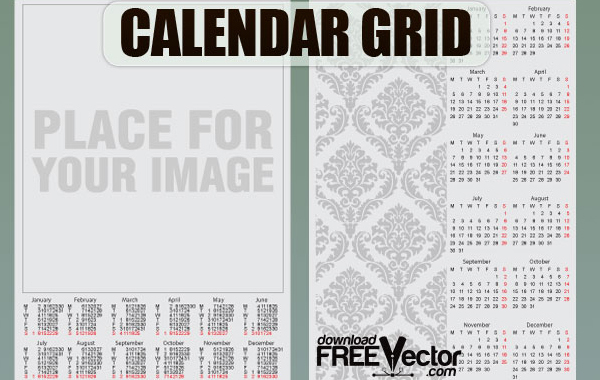 Free Free Vector Calendar Grid Template
