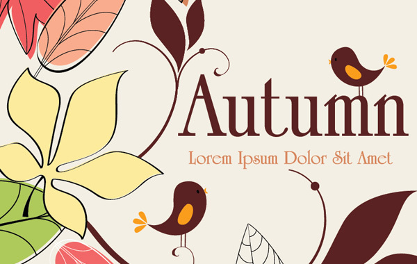 Free Vectors: Autumn Background With Birds | Vector Bg