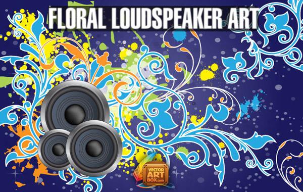 Free Vector Free Floral Loudspeaker BG Art