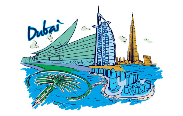 Free Vector Dubai Illustration